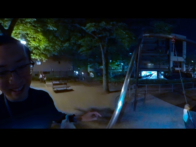 Cindy on the swings in Kyoto Park at Night: GOPRO FUSION 360 Video